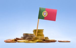 Flag of Portugal in a stack of coins.(series)