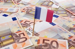 Flag of France sticking in 50 Euro banknotes.(series)