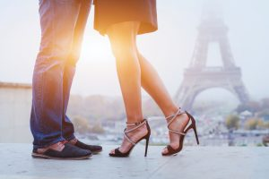romantic holidays in Paris, feet of couple