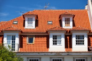 Mansard roof in Lisbon. Portugal.