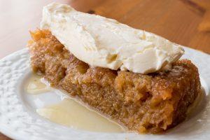 Turkish Dessert Ekmek Kadayifi / Bread Pudding with cream.