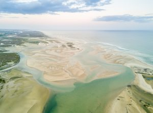 Aerial view of unique Ria Formosa in Fuseta, Algarve, Portugal