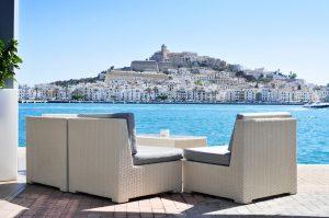 Sa Penya and Dalt Vila districts in Ibiza Town, Spain